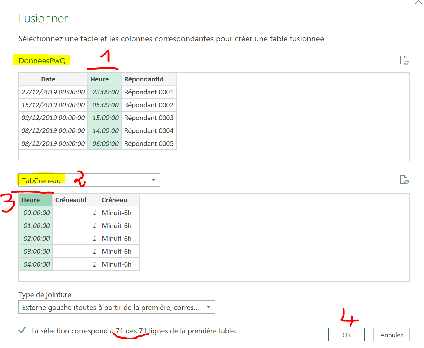 Carte thermique Excel Power Query