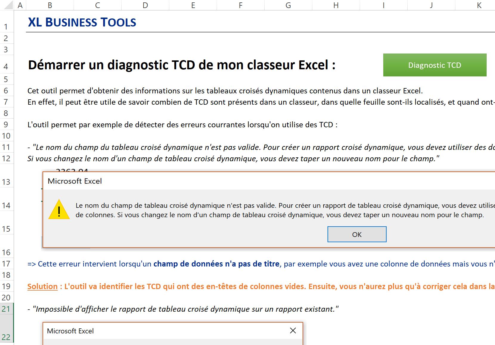 Macro Vba Diagnostiquer Les Tableaux Croises Dynamiques D Un Classeur Excel Xl Business Tools